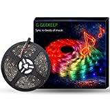 G GEEKEEP Music Activated LED Strip Lights,16.4ft/5m 12V Color Changing Rope Lights Pulse to Beats of Music