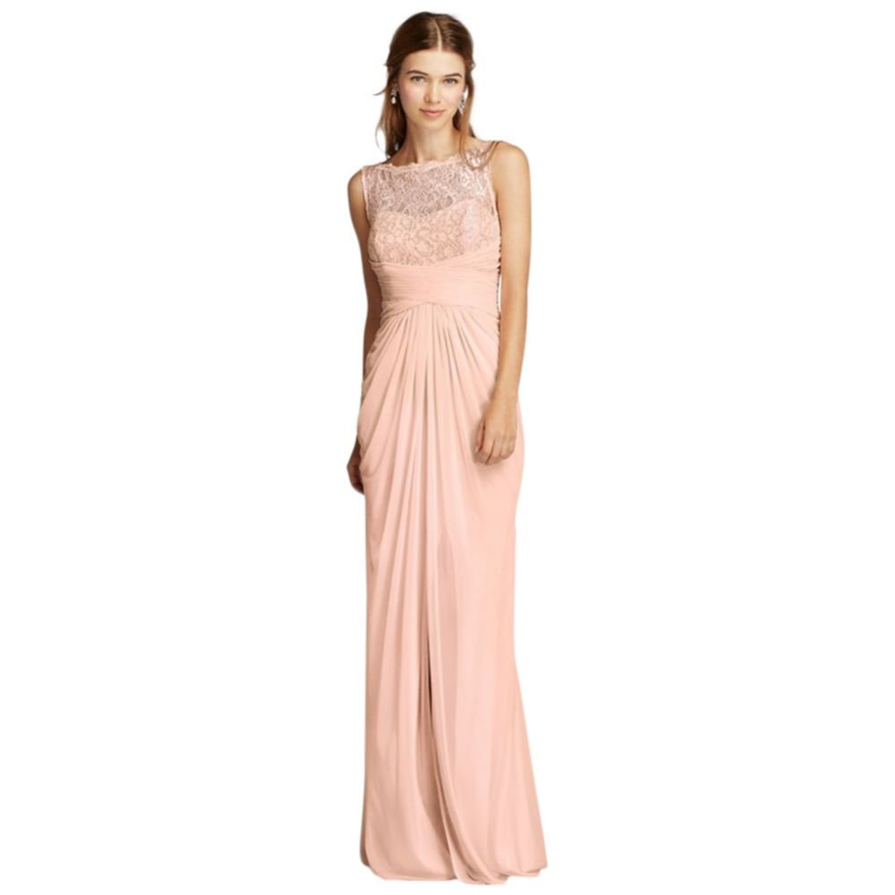 David's Bridal Sleeveless Mesh Metallic Bridesmaid Dress with Corded Lace Style F15749M. by David's Bridal