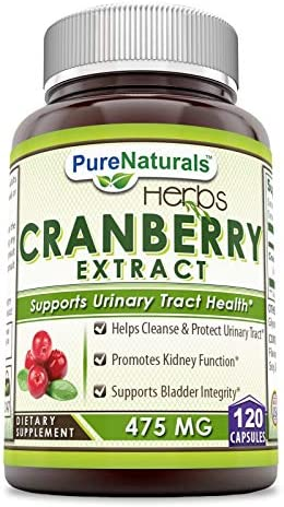Pure Naturals Cranberry Extract, 475 mg 120 Capsules – Promotes Kidney Function – Helps Clean Protect Urinary Tract – Helps Maintain Bladder Integrity