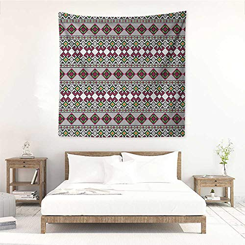 Willsd Retro Wall Tapestry for Bedroom Illustration of Ukrainian Pattern Ornament Traditional Borders Ethnic and Slovenian Living Room Background Decorative Painting 39W x 39L INCH Multicolor]()