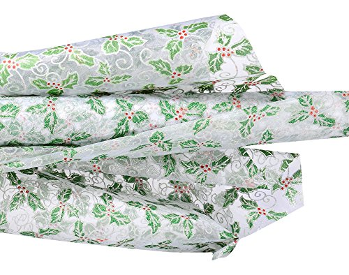 Cg 10m Glittered White Organza Roll with Christmas Holly Berry Design - 29cm - Berry Designs Holly