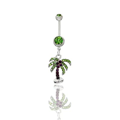 Amazon Com Jewels Fashion Palm Tree Dangle Surgical Steel Belly