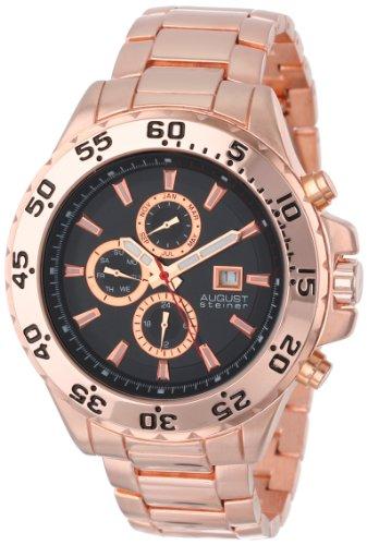 (August Steiner Men's AS8071RG Swiss Multi-Function Black Dial Rose-Tone Bracelet Watch )