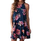 Shyby Women Dresses, Women Sexy Dress Floral Straps Mini Dress Camisole Sleeveless Dress