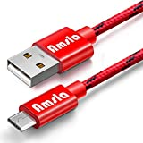 Micro USB Cable, Amsla Premium Nylon Braided Fast Charging Cable - 3.3 Feet (Red)