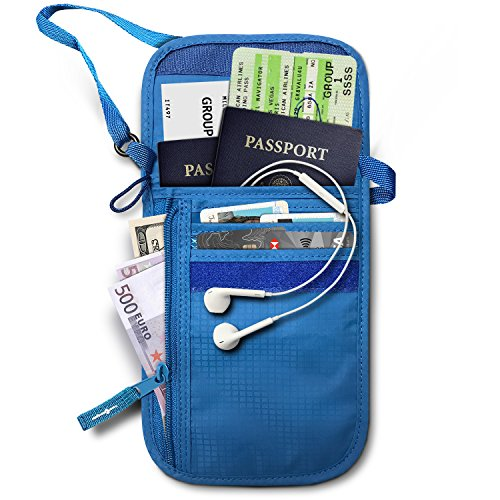 RFID Blocking Neck Stash Passport , Unisex , Blue