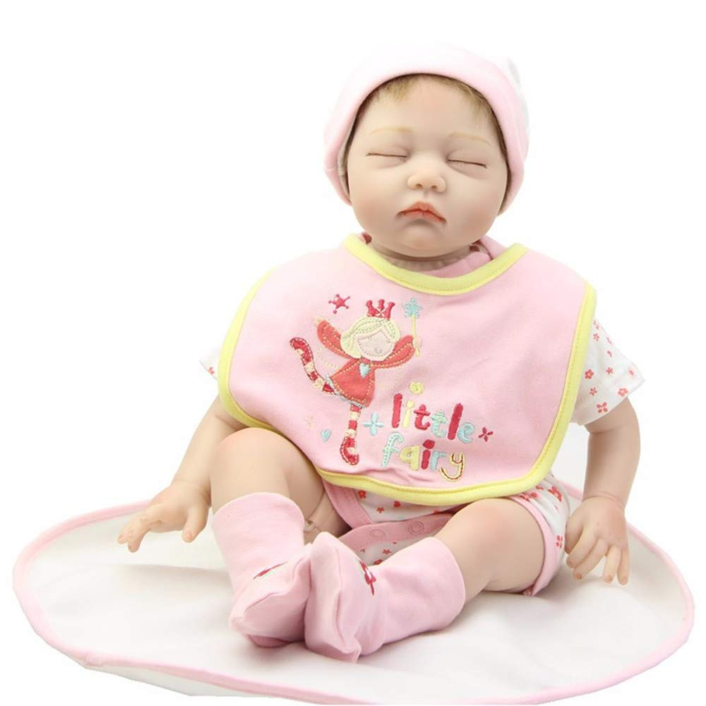 MCCW Neugebore Puppe wiedergeborene Baby-Simulation Baby-Tuch Körper niedliche Puppe High-End-Urlaub-Geschenk 22 Zoll