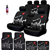 NEW Black Fabric I Love New York Skyline Logo Front and Rear Car Seat Covers, 4 Carpet Floor Mats Set and 2 Ounce Purple Slice