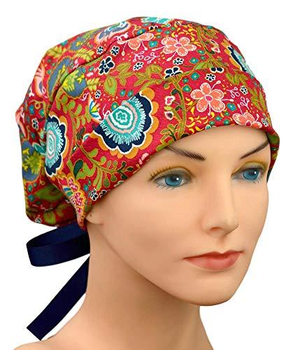 Womens Surgical Scrub Hat Adjustable Medium to Large with Ribbon Ties (Joyful)