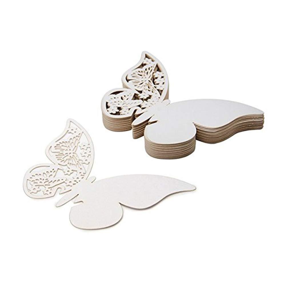 Nicedeal Segnaposti Segnabicchiere Segnatavolo Laser Cut Bianco Perlato Forma di Farfalle Decorazioni per Feste Matrimonio 50pezzi Atmosfera di casa Deco