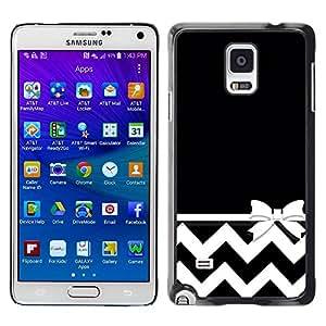 Paccase / SLIM PC / Aliminium Casa Carcasa Funda Case Cover para - Chevron White Minimalist Bow - Samsung Galaxy Note 4 SM-N910F SM-N910K SM-N910C SM-N910W8 SM-N910U SM-N910