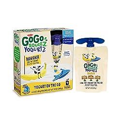 Gogo Squeez Yogurtz, Banana, 3.2 Ounce Portable Bpa-free Pouches, Gluten-free, 4 Total Pouches