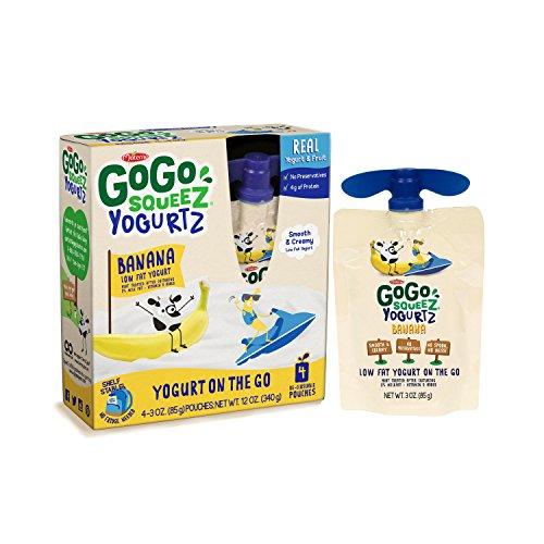 GoGo squeeZ YogurtZ, Banana, 3 Ounce Pouches, 4 Count