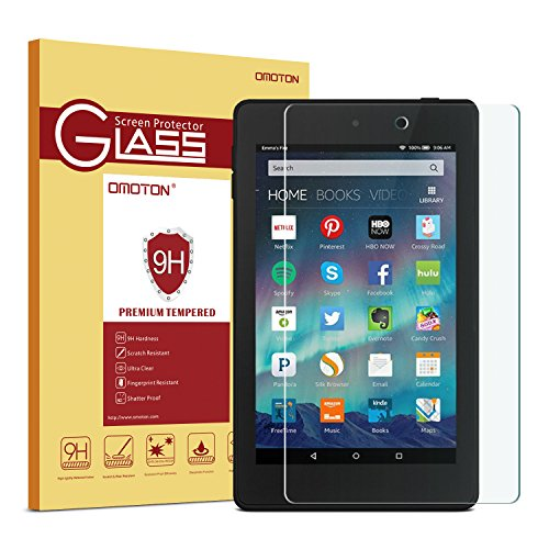 Fire HD 6 Tablet 2014 Screen Protector, OMOTON Tempered Glass Screen Protector for Amazon Fire HD 6 [9H Hardness] [Crystal Clear] [Scratch Resist] [No-Bubble]