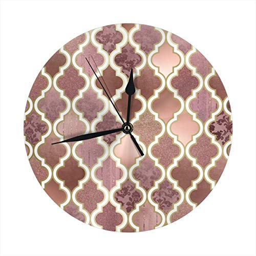 Rosegold Pink and Copper Moroccan Tile Pattern Round Decorative Wall Clock Non Ticking Silent Clocks for Home DecorKitchen Bedroom Living Room School Office 9.8