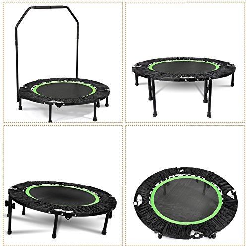 Folding Mini Trampoline with Adjustable Handle Bar Fitness Rebounder Trampoline Cardio Workout Training for Kids or Adults Zero Stretch Jump Mat - Maximum Load 300lbs