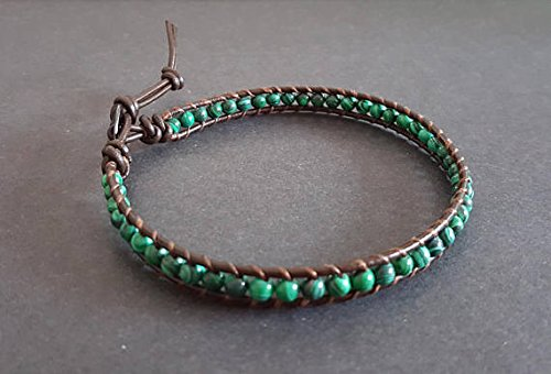 Malachite Brown Leather Anklet ()