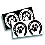 dog box trailer - Sheets Of Decals - Horseshoe And Dog Paw Print - Use On Your Truck, Trailer Or Tack Box - Black & White, 2 Per Sheet Each 5 1/4 x 5 1/4 Inches