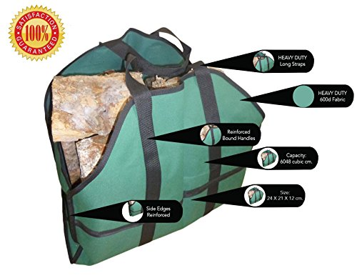NEW ~ Deluxe Log Bag Carrier ~ This Superior Heavy Duty Outdoor-Indoor Log Holder Carrier for Firewood Is 16 Oz Canvas Tote Bag & Large in Size & Hauls Plenty of Timber for Your Fireplace with Fewer Trips and No Mess - This Log Carrier Wood Bag Is Built to Last ~ with 100% NO-HASSLE *Best Lifetime Guarantee!* ★★★★★