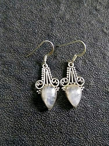 Rainbow Moonstone Earrings, 925 Silver, Charm & Royal Earrings, Teardrop Earrings, Mermaid Gift, Festival Earrings, Blue Fire Moonstone, Graceful Earrings, Trending Earrings, Boho Love, Gothic Earring