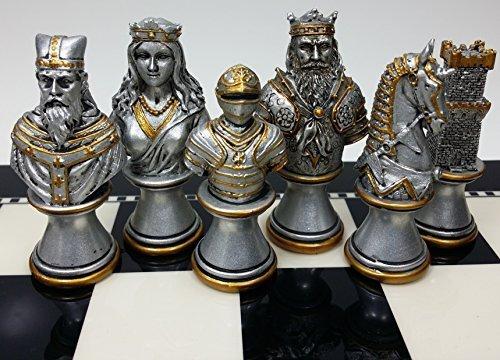 お気に入りの Medieval Medieval Times Crusades NO Knight Chess Men Set Gold Set & Silver Busts - NO Board B014QEG0N6, ナガオカキョウシ:b95fb766 --- arianechie.dominiotemporario.com