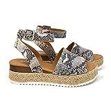 SODA Women's Open Toe Ankle Strap Espadrille Sandal (8 M US