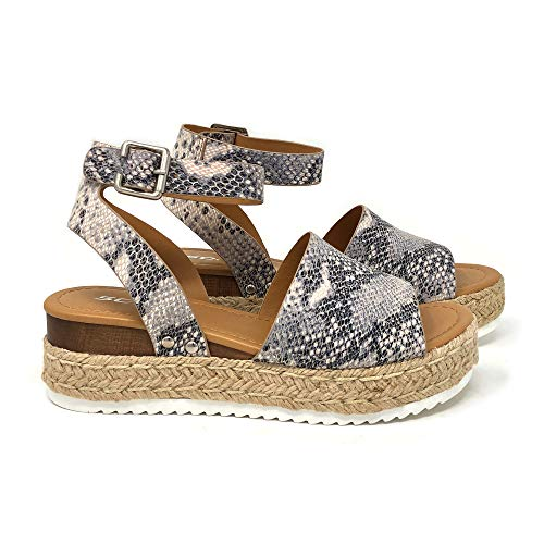 SODA Topic Topshoe Avenue Women's Open Toe Ankle Strap Espadrille Sandal (7.5 M US, BGE Pyth)