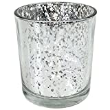 Just Artifacts Mercury Glass Votive Candle Holder 4'' H (12pcs, Speckled Silver) - Mercury Glass Votive Tealight Candle Holders for Weddings, Parties and Home Decor