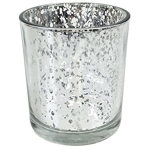 Just Artifacts Mercury GlassVotiveCandle Holder 4'' H(12pcs,Speckled Silver) - Mercury Glass Votive Tealight Candle Holders for Weddings, Parties and Home Decor by Just Artifacts