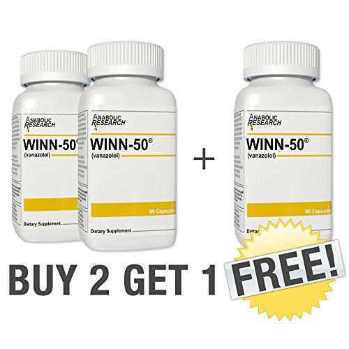 Winn-50 - Buy 2 Get 1 Free - Fat Burner, Metabolism Booster, Muscle Recovery, Strength & Endurance - Winn50-3 Month Supply
