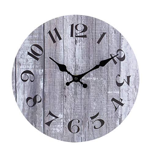 Silent Non-Ticking Wooden Decorative Round Wall Clock Quality Quartz Battery Operated Wall Clocks Vintage Rustic Country Tuscan Style Gray Wooden Home Decor Round Wall Clock(10 Inch,Arabic Numerals) (White Vintage Clock Wall)
