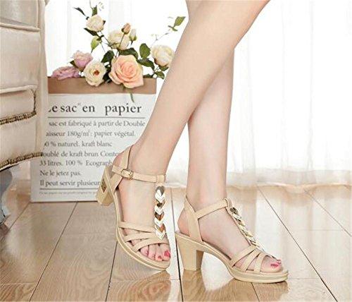YEEY Sandalias de verano abierto Toe PU zapatos de tacón alto para las mujeres trabajo Club banquete de compras cómodo Beige