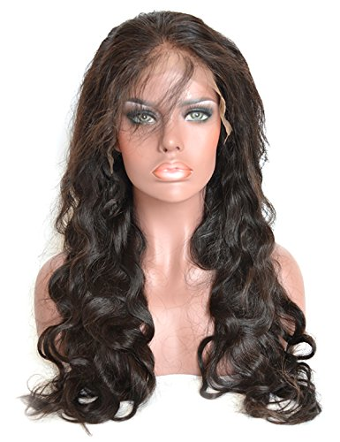 Baisi Natural Color Body Wave 360 Lace Wig Pre-Plucked 150% Density Full Lace Band Virgin Human Hair Wigs With Natural Hairline for Black Women (18inch) by Baisi