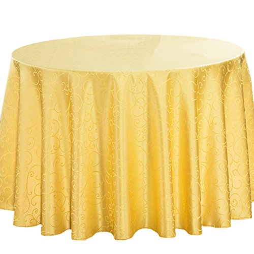 FREE FISHER Polyester Table Linens Cloth Mat for Picnic Party Restaurant Yellow Round 10.5 ft by FREE FISHER