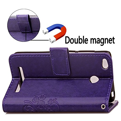YAJIE-Carcasa Funda Para Xiaomi Redmi 3S / 3 Pro / 3, [Relieve Lucky Flower Four-Leaf Clover] Funda de cuero de la PU [Soporte / Ranura para tarjeta] Con correa para la muñeca Funda de cuero Flip Case Purple