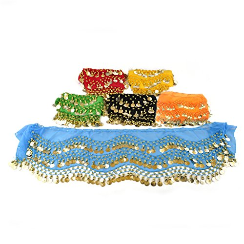 (BellyLady Wholesale Lots Of 6 Gold Coins Belly Dance Hip Scarves, Gift Idea-set3)