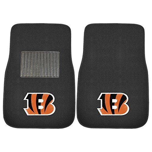 Fanmats 10297 Team Color One Size 2 Piece Embroidered Car Mat Set NFL (Cincinnati Bengals), 2 (Ncaa Embroidered Black Vinyl)