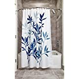 InterDesign Leaves Fabric Bathroom Shower Curtain, 72 x 72 Inches, Blue and White