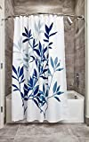 Bathroom Shower Curtains and Accessories InterDesign Leaves Fabric Shower, Modern Mildew-Resistant Bath Curtain for Master, Kid's, Guest Bathroom, Standard, Navy and Slate Blue