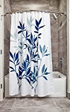 iDesign Leaves Fabric Shower Curtain, Modern Mildew-Resistant Bath Curtain for Master Bathroom, Kid's Bathroom, Guest Bathroom, 72 x 72 Inches, White and Blue