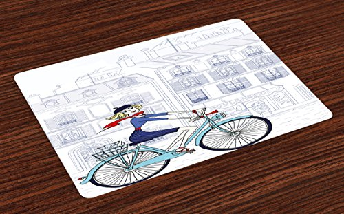 Lunarable Paris Place Mats Set of 4, Woman Riding a Bicycle in Paris with a Cat European French Style Illustration, Washable Fabric Placemats for Dining Table, Standard Size, White Blue