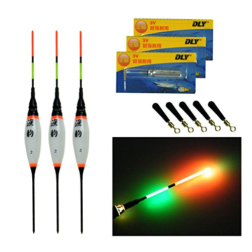QualyQualy Electronic LED Fishing Floats and Bobbers 1/32oz 1/24oz 1/16oz Night Lighted LED Fishing Bobber Light Freshwater Fishing Floats for Crappie Panfish Walleye 3 Pieces/Set