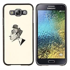 Caucho caso de Shell duro de la cubierta de accesorios de protecci¨®n BY RAYDREAMMM - Samsung Galaxy E5 E500 - Hombre Retrato L¨¢piz Arte Gafas Perfil