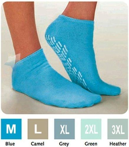 Salk SureGrip Terry Slipper Socks with Slip-Resistant Soles Large - Camel ()