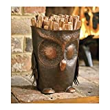 Handcrafted Decorative Metal Owl Fatwood Holder with 5 lbs. Of Fatwood Kindling Fire Starter Sticks, 8 dia. x 10 H