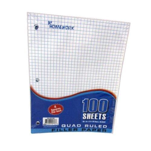 Quad Ruled Filler Paper - 100 Sheet - 10.5'' x 8'' 36 pcs sku# 697694MA