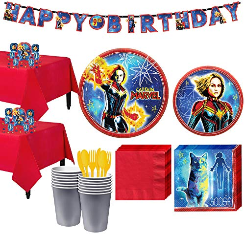 (Party City Captain Marvel Tableware Kit for 16 Guests, Includes Table Covers, Table Decorating Supplies,)
