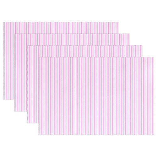 AIKENING Pink Vertical Stripes Scrapbook Lines Placemats Set of 4 Heat Insulation Stain Resistant for Dining Table Durable Non-Slip Kitchen Table Place ()