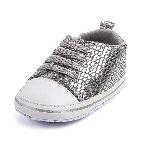 (WINER Infant Baby Boy Girl Canvas Sneakers Soft Sole Anti-Slip High-Top Ankle First Walker Newborn Shoes (0-6 Months Infant, C-Silver))