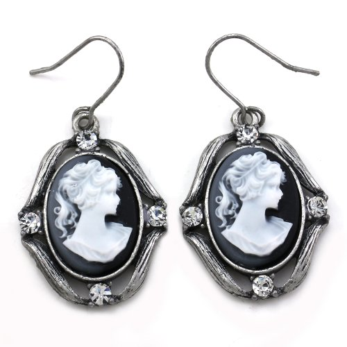 Grey and White Cameo Earrings Dangle Rhinestones Fashion Jewelry